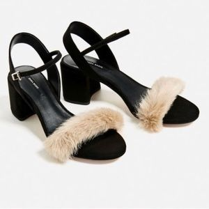 Zara Faux Fur Vamp High Heeled Sandals in black